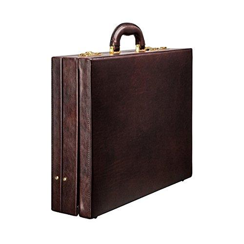 Maxwell Scott® Exclusivo maletín ejecutivo expandible tipo attaché case en cuero Italiano de lujo color café (Strada)