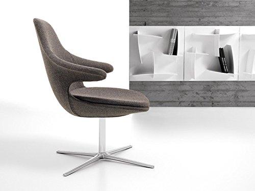 Sessel Loop Lounge niedrig Lounge Sessel Drehsessel Loungesessel Polstersessel Relaxsessel Infiniti, Farbe:Stoff Grau