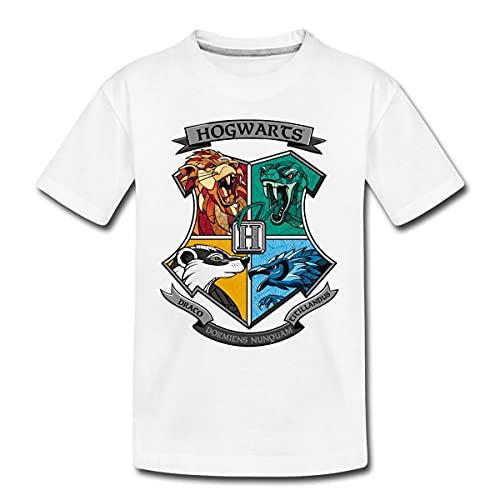 Spreadshirt Harry Potter Hogwarts Logo Teenager Premium T-Shirt, 146-152, Weiß