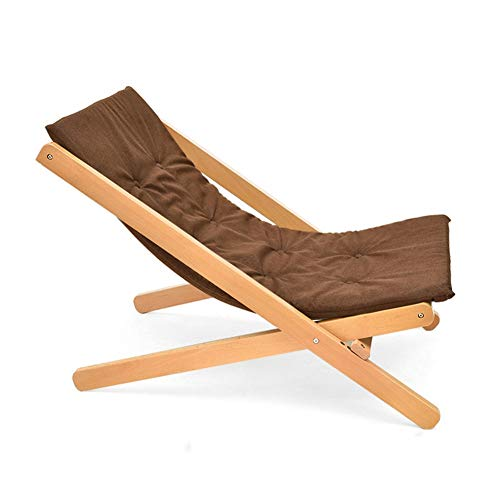 HGDD Solid Wood Folding Garden Sun Lounger Chair Office Chair Beach Chair (Colour: Brown)