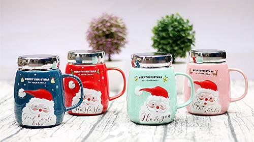 SHANFAA Taza de café navideña con diseño de Papá Noel en 3D,...