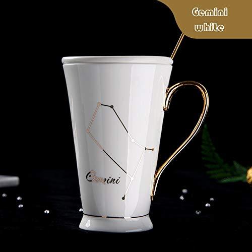 GFHTH Kaffeetassen 12 Sternbilder Becher Weiß Und Gold Porzellan Porzellan Kaffeemilch Becher Mit Edelstahl Löffel Keramik Tasse Schwarzer Henkel Zwillinge Weiß