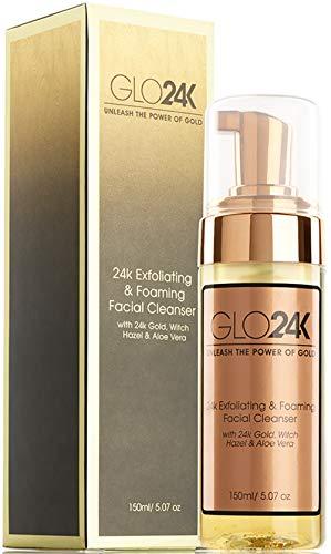 GLO24K Detergente viso esfoliante e schiumogeno con oro 24k, amamelide e aloe vera