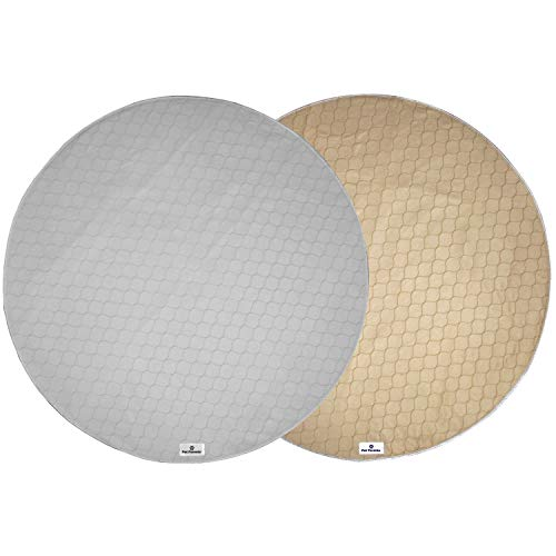 Pet Parents Washable Round Whelping Pads (2pack) of 48' Circle Premium Pee Pads for Dogs, Waterproof Dog Pee Pads, Circle Reusable Dog Training Pads, & Pet Pee Pads! Modern Puppy Pads! -1 Tan & 1 Grey