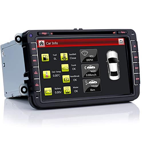 iFreGo Autoradio 8 Zoll GPS Navigation, USB SD Autoradio Bluetooth DVD MP3 + HD Für VW Golf 5/6, Passat, Tiguan, Polo, Jetta, Skoda Fabia, Octavia, Yeti, Seat Leon, Touran, Candy, Sharan, EOS.