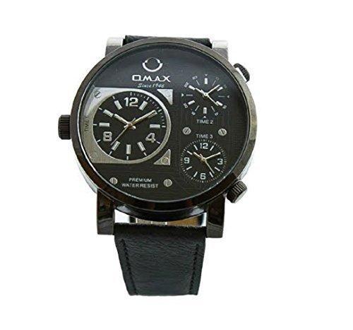 Omax Herren Retro Designer Armbanduhr Dreifach Zeit Schwarz Kunstleder Uhrenarmband Schwarz Weiß Ziffernblatt Extra Batterie