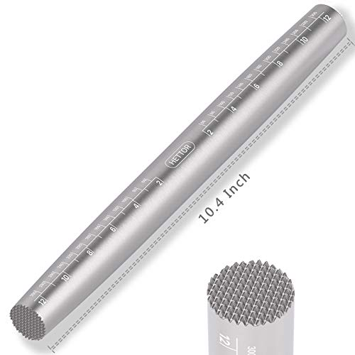 Rolling Pin, French Stainless Steel Rolling Pin for Baking with Meat Tenderizer End, Non-stick Moldproof Easy Cleaning Dough Roller for Fondant, Cookie, Dough, Pie, Pastry and Pizza (10.4 Inch)