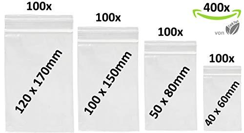 400 x Druckverschlußbeutel Set | Zip Verschlussbeutel | Zip Lock Bags | Gleitverschlussbeutel 50 mµ | Polybeutel | Hergestellt in Deutschland | Beutel Set mit 4 Grössen von Easy Pack
