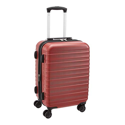Amazon Basics - Trolley rigido e robusto, alta qualità, 56 cm, Rosso