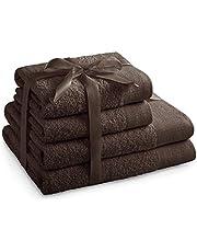 AmeliaHome Handduksset brun 2 handdukar 50 x 100 cm och 2 duschhanddukar 70 x 140 cm 100 % bomull kvalitet absorberande choklad amari