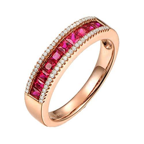 Aeici Rose Gold 750 Ring Siegelring Frauen Rund Rubin 0.8ct Diamant 0.13ct Roségold Trauringe Eheringe Größe 50 (15.9)