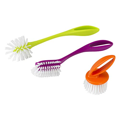 Casabella Loop 3-Piece Dish Brush Set - 15519AZ(Colors May Vary)