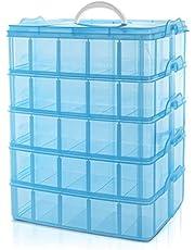 Belle Vous 5 Laags Hoge Blauw Transparante Plastic Stapelbare Opslag Doos - Aanpasbare Compartiment slots - Maximaal 50 Compartimenten – Container Voor het Opslaan van Speelgoed, Sieraden, Kralen