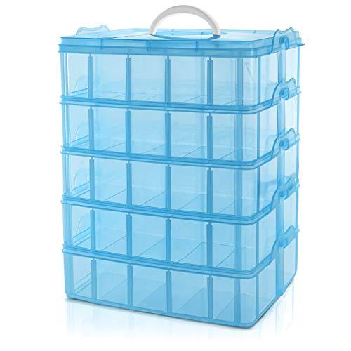 BELLE VOUS 5 Ebenen Blaue Sortierboxen für Kleinteile mit 50 verstellbaren Fächern -Organizer Box-Schraubenbox-Sortierbox-Kleinteile Aufbewahrung für Spielzeug, Schmuck, Kosmetik&Accessoires
