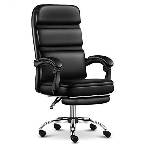 HQBL Executive-Stuhl Aus Schwarzem PU-Leder, Drehbare Bürostühle mit Hoher Rückenlehne, Armlehne und Fußstütze, Ergonomischer, Weicher Computer-Softhocker, Höhenverstellbarer Sitz