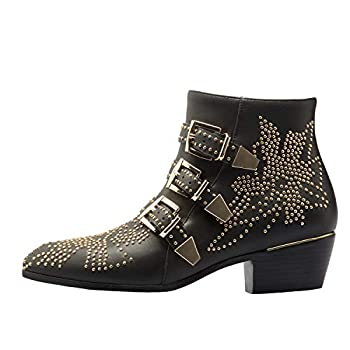 Comfity Boots for women Women s Leather Booties Rivets Studded Shoes Metal Buckle Low Heels Ankle Boots Black Gold 9 US