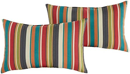 Greendale Home Fashions AZ5811S2 SUNSET Adobe Stripe Outdoor Rectangle Throw Pillow Set of 2 product image