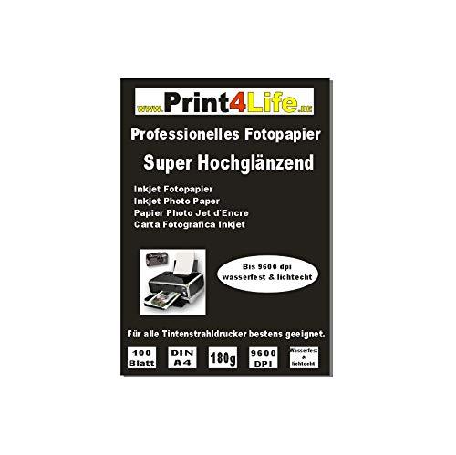 Print4Life 100 Blatt 180g DIN A4 Fotopapier Inkjet Tintenstrahldrucker Mehrzweck-Fotopapier - Gussgestrichenes, hochweißes und glänzendes Papier für hochqualitative Farbausdrucke.