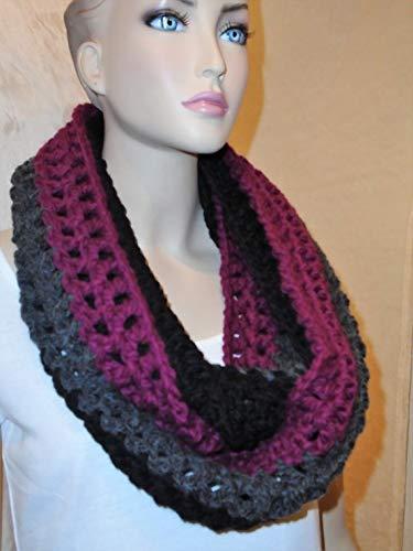 New item Black Rasperry purple overseas Crochet Infinity Chunky Scarf Inf