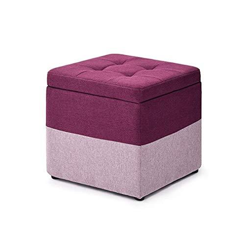 SMSOM Almacenamiento otomano, versátil Ahorro de Espacio de Almacenamiento Caja de Juguete de Lino Cuadrado Poufffe sillón, Carga máxima 150 kg de Lino Negro 40 x 40 x 40 cm (Color : B)