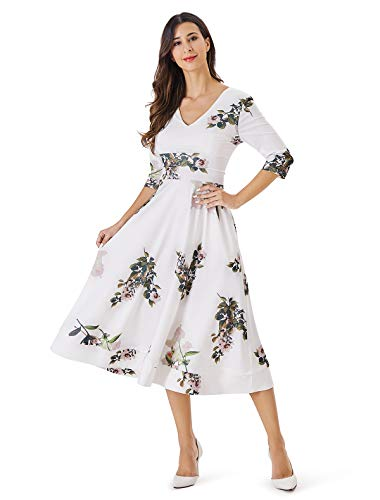 Noctflos Spring Floral V Neck Fit and Flare Midi Cocktail Party Dress with Pocket