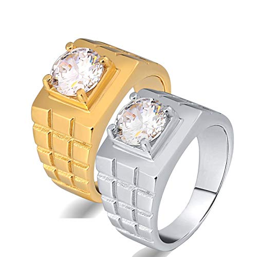AnazoZ 2Pc Ring Set,Couples Jewelry Stainless Steel Round White Zirconia Silver Gold Ring Size Women R 1/2 & Men V 1/2