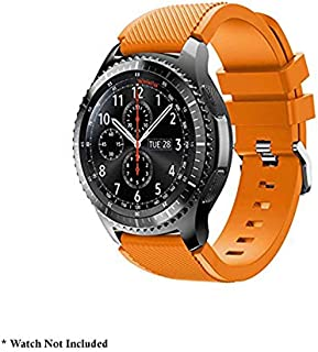 Brain Freezer J Silicone Classic Bracelet Watch Band for Samsung Gear S3 Frontier / S3 Classis Band 22mm Orange Plus Screen Guard