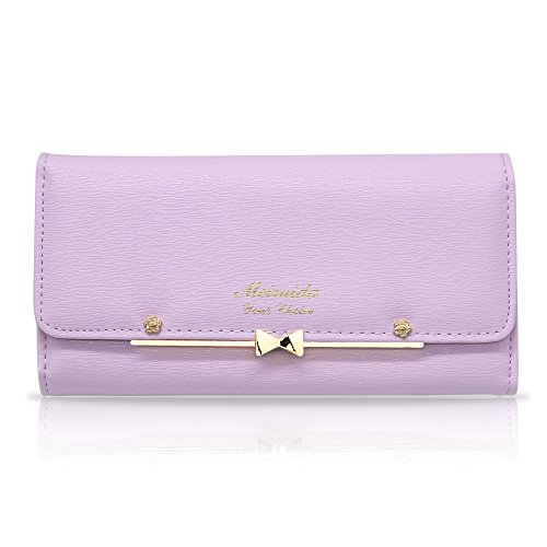 Woolala Women Cute Bowknot Wallet Trifold Large Capacity Long Purse, Purple