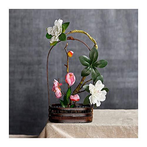 hongbanlemp Panier de Fleurs Panier de Fleurs de Tissage de Bambou simplicité, paniers tissés rétro à la Maison Décoration de Jardin pour Stockage Fleurs séchées, Plantes Vertes Panier tissé
