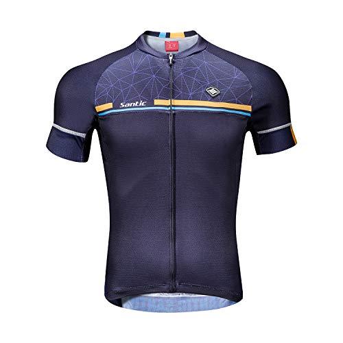 Santic Magliette Ciclismo Uomo Breve Maglietta Bicicletta Camicie Ciclismo Marina Militare EU S