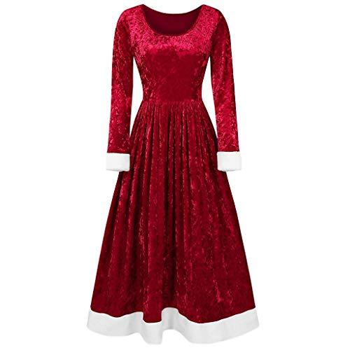 Kerstjurk voor dames, rood, lange mouwen, fluweel, vrolijk kerstgeschenk of bedrukte kraag, vintage-jurk, partyjurk, avondjurk, feestjurk, Kerstmis, jurk
