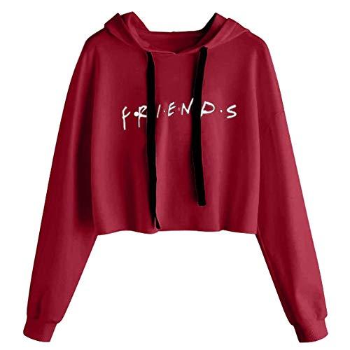 Sudadera Friends Mujer Serie con Capucha Casual Pullover Hip Hop Danza Camisetas Mejores Amigas Manga Larga Encapuchado Otoño Invierno Primavera para Gemelos Hermanas Baggy Jumper Crop Top Streetwear