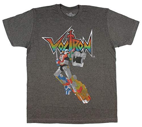 Seven Times Six Voltron Men's Distressed Vintage Legendary Defender T-Shirt M Charcoal Heather