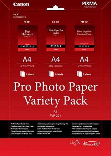 Canon Professionelles Fotopapier PVP-201 Musterpaket DIN A4, 15 Blatt für Tintenstrahldrucker