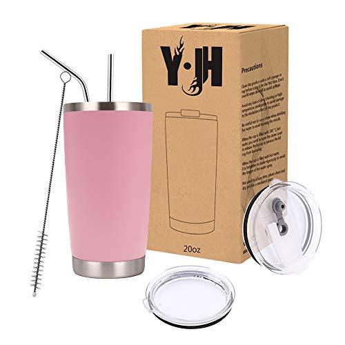 Y·JH 20oz (550ml) Bicchiere da Viaggio Tazza da caffè a Doppia Parete isolata sottovuoto Tazza da caffè in Acciaio Inossidabile con 2 coperchi antispruzzo, 2 cannucce, Senza BPA - Rosa