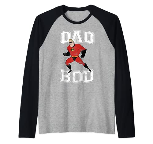 Disney Pixar Incredibles Mr. Incredible Dad Bod Portrait Camiseta Manga Raglan