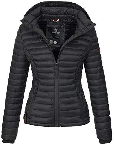 Marikoo Damen Jacke Steppjacke Übergangsjacke mit Kapuze gesteppt B600 [B600-Samt-Schwarz-Gr.XL]