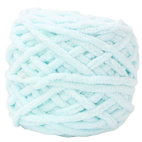 CHICIRIS Lana Grezza, Filato per Coperte Big Ball 12 Colori Un Set con Un Uncinetto per Tessuti Sciarpe Scialli Maglioni Cappelli Scarpe Cuscini per sedili(06 Water Blue)