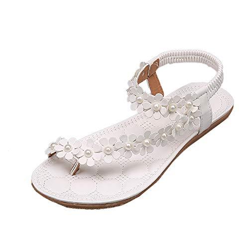 VECDY Schuhe Sommer Böhmen Blume Perlen Flip Flop Schuhe Flache Sandalen High Heels Freizeitschuhe Flache Schuhe Mode Hausschuhe 35-40