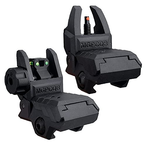 Fiber Optic Iron Sights Polymer Flip up Backup Front and Rear Low Profile for Picatinny Weaver Rail