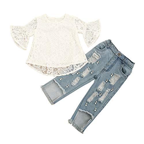 Geagodelia Kinder Mädchen Sommer Outfit 2PCS Kurzarm Bluse + Lang Denim Jeans Hosen 1-6 Jahre Schulterfrei Top Babykleidung Set Baby Mädchen Kleidung (Weiß Spitzentop + Jeans, 12-18 Monate)