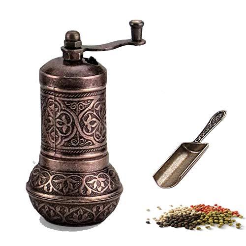 MoonShield Pepper & Salt Grinder - Turkish Coffee Mill - Mini Antique Look Spice Shovel - Salt Shaker - Zinc Alloy Casting Best Carving Metal - Adjustable Coarseness (Bronze)