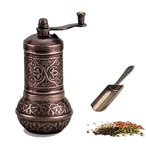 MoonShield Pepper & Salt Grinder - Turkish Coffee Mill - Mini Antique Look Spice Shovel - Salt Shaker - Zinc Alloy Casting Best Carving Metal - Adjustable Coarseness (Bronze)