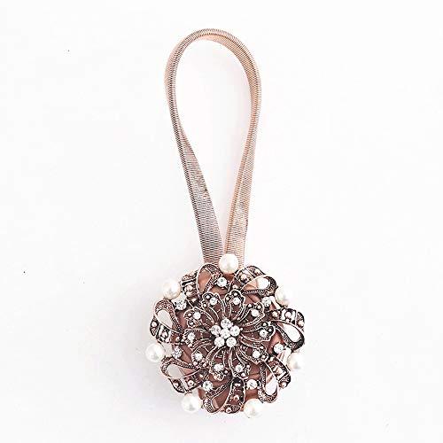 Gordijnclips, touw, 1 paar, retrostijl, men-made parels, bloemengordijn, clips, ophangbeugel, holdbacks voor thuiskantoor