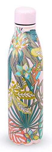 Vera Bradley Pink Stainless Steel Insulated Water Bottle, 17 Ounce Travel Tumbler with Lid for Sports, Gym, School, Rain Forest Fauna