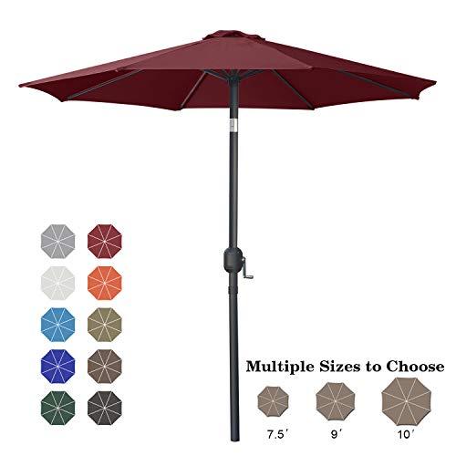 ABCCANOPY 7.5' Patio Umbrella Table Market Umbrella with Push Button Tilt for Garden, Deck, Backyard and Pool, 6 Ribs 13+Colors,Burgundy