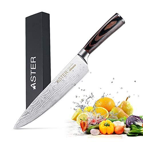 Kochmesser Profi 20cm scharfe küchenmesser ASTER Messer Chefmesser Allzweckmesser aus Rostfreiem Stahl, Hochwertige Messerklinge mit Ergonomischer Griff zum Schneiden