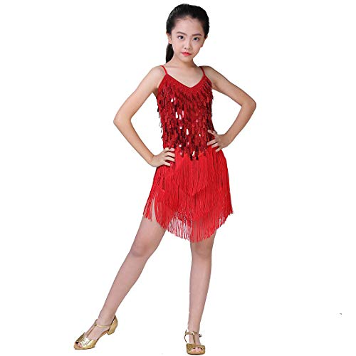 Magogo Girls Dancing Dresses, Sequin Tassel Skirt Latin Dance Costumes for Kids, Salsa Ballet Tango Rumba Ballroom Dancewear, Red, Large