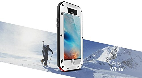 LOVE MEI Carcasa para iPhone 6/6S, de aluminio resistente al aire libre, a prueba de golpes, a prueba de salpicaduras, con película de cristal templado (iPhone 6/6S, blanco)