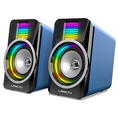 Computer Lautsprecher, LANGTU RGB Licht...